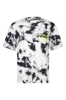 Boys Black Cotton Tie-Dye T-Shirt