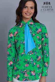 Hawes & Curtis Green Floral Semi Fitted Blouse