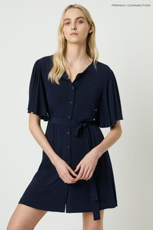 French Connection Blue Serafina Slinky Jersey Belted Dress