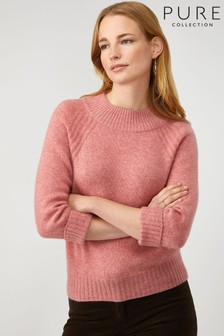 Pure Collection Pink Cashmere Lofty Turtle Neck Sweater