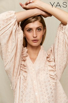 Y.A.S Sustainable Organic Cotton Broderie Anglaise Stulip Blouse
