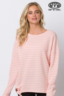 Animal  Pink Street Stripes Long Sleeve Knot Front T-Shirt