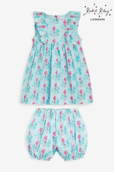 Rachel Riley Blue Seahorse Frill Sun Dress And Bloomers