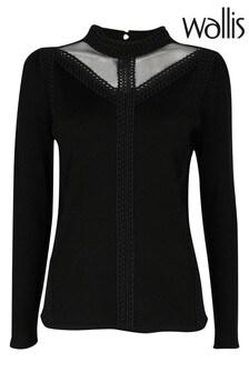 Wallis Black Lace Detail Jumper