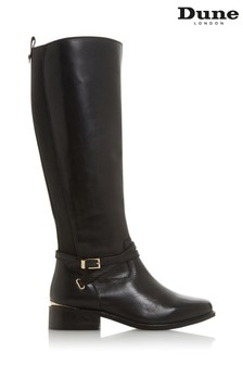 Dune London True Black Leather Chain Trim Knee High Boots