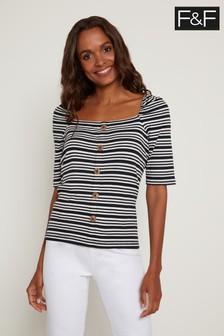 F&F Navy Square Neck Button Through Top