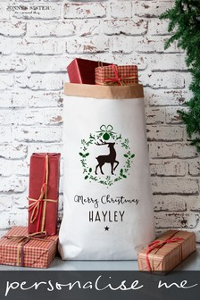 Personalised Christmas Stag Paper Sack by Jonny's Sister