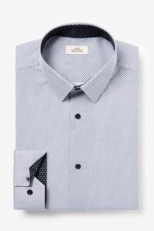 Slim Fit Printed Trim Detail Shirt