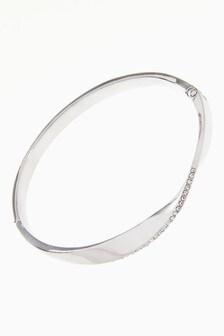 Pave Twist Detail Hinge Bracelet