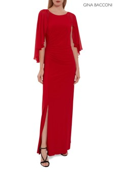 Gina Bacconi Red Charlotte Cape Maxi Dress
