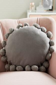Grey Pom Pom Edge Circle Cushion