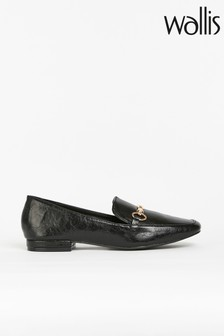 Wallis Brunette Black Posh Trim Loafer Shoes