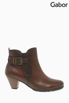Gabor Brown Tamarind Womens Modern Leather Ankle Boots