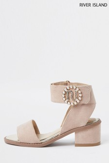 River Island Pink Pearl Buckle Heeled Sandals