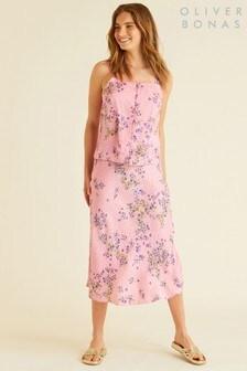 Oliver Bonas Floral Print Spot Jacquard Skirt