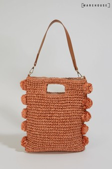 Warehouse Orange Tassel Straw Shoulder Bag