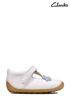 Clarks White Tiny Sun T Shoes