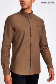 River Island Camel Oxford Tobacco Shirt