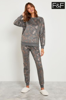 F&F Grey Marl Floral Foil Fleece Pyjamas
