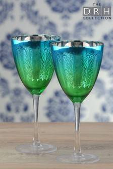 Set of 2 Peacock Wine Glasses By The DRH Collection