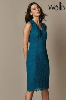 Wallis Teal Lace Scallop Dress