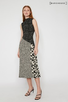 Warehouse Black Floral Animal Print Midi Dress