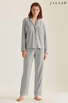 Jigsaw Grey Amelie Stripe Jersey Pyjamas