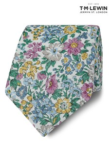 T.M. Lewin Liberty Fabric Wide Pink Honeydew Cotton Linen Tie