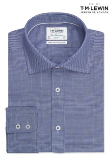 T.M. Lewin Navy Optical Check Slim Fit Single Cuff Shirt