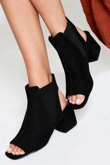 Elastic Side Block Heel Shoe Boots