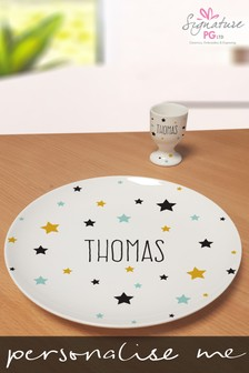 Personalised Stars Bone China Egg Cup And Plate by Signature PG