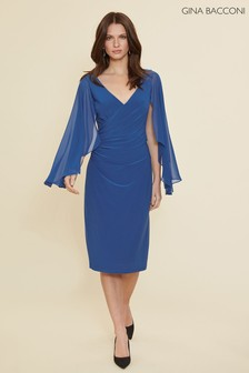Gina Bacconi Blue Idina Jersey And Chiffon Dress