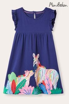 Boden Blue Frill Sleeve Appliqué Dress
