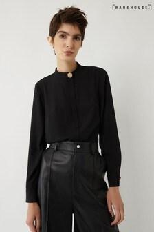 قميص أسود بأزرار رقبة من Warehouse