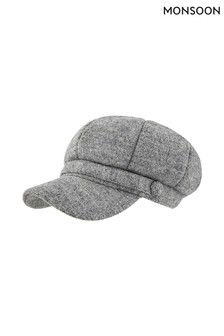 Monsoon Grey Bambi Baker Boy Bouclé Hat