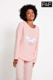 F&F Pink Fox Novelty Fleece Pyjamas