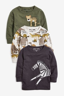 3 Pack Long Sleeve Safari T-Shirts (3mths-7yrs)