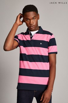 Jack Wills Pink Broderick Rugby Stripe Polo