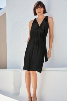 Wrap O-Ring Detail Dress