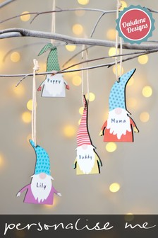 Personalised Gnome Hanging Decoration by Oakdene Designs