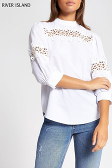 River Island White Gilly Lace Insert Poplin Top