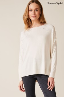 Phase Eight Cream Pandora Pearl Knit Jumper