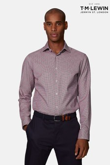 T.M. Lewin Burgundy Optical Check Fitted Single Cuff Shirt
