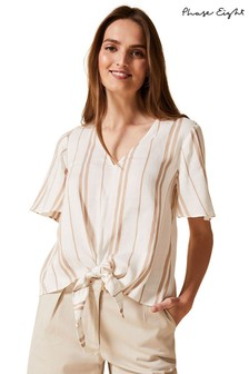 Phase Eight Neutral Leanna Stripe Tie Blouse