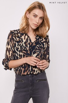 Mint Velvet Leopard Josie Ruffle Blouse