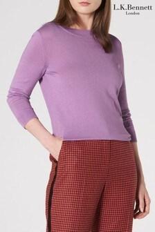 L.K.Bennett Purple Grace Silk And Cotton Top