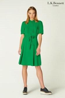 L.K.Bennett Green Shrimpton Top Stitch Crepe Dress