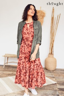 Thought Red Cassandra Maxi Flare Dress