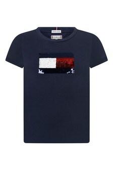 Girls Navy Cotton Sequins Flag T-Shirt