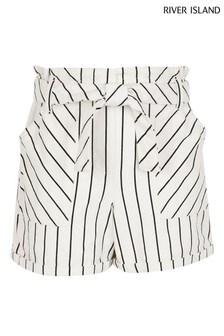 River Island White Stripe Paperbag Shorts